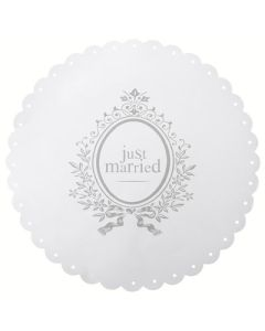 Placemat Just Married wit   6 stuks