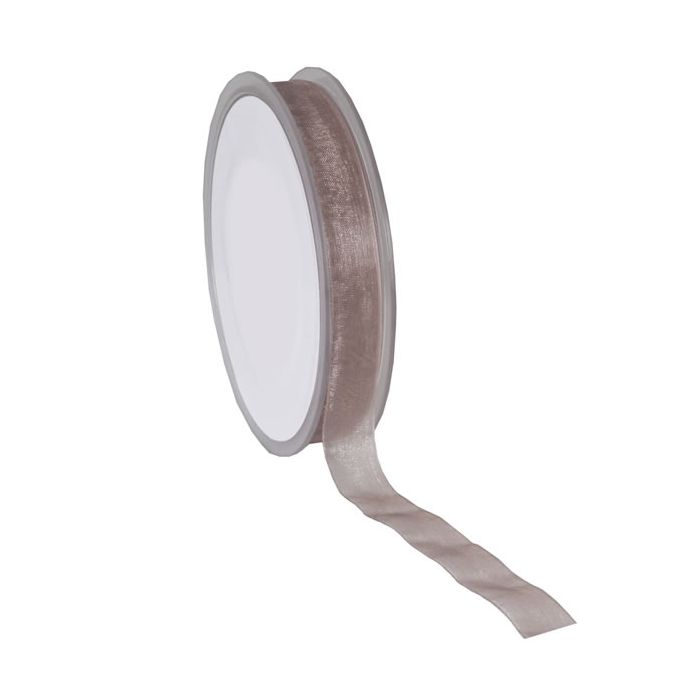 Organza lint taupe 15 mm