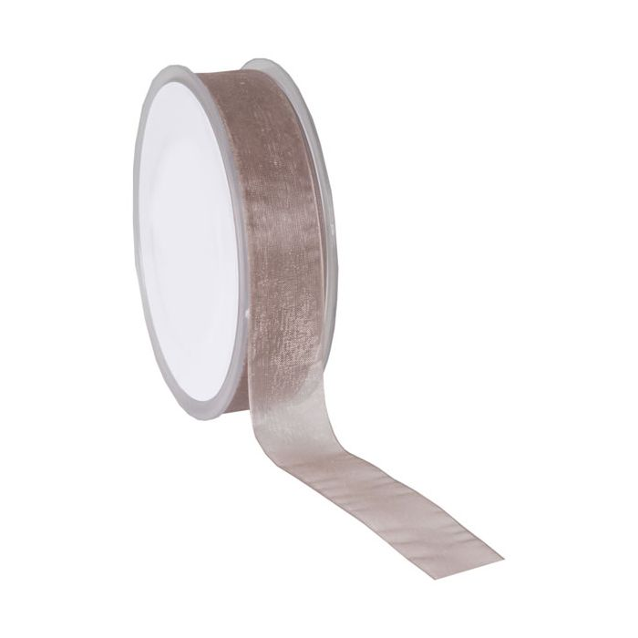 Organza lint taupe 25 mm