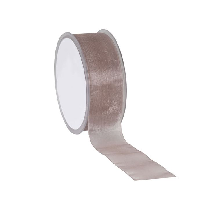 Organza lint taupe 38 mm