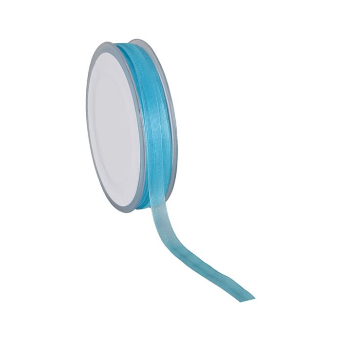 Organza lint turquoise 10 mm
