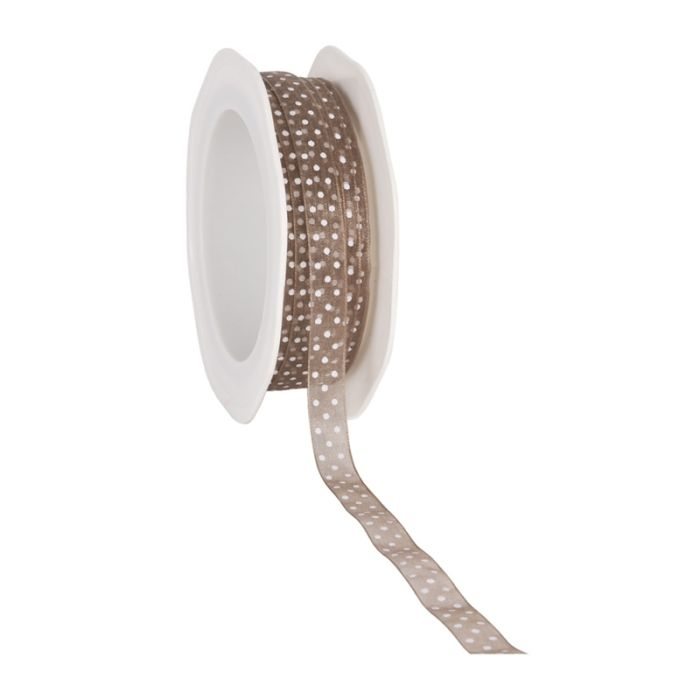 Cadeaulint Voile dots taupe 10 mm (20 meter)